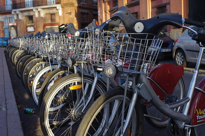 Parked bikes in Toulouse, France