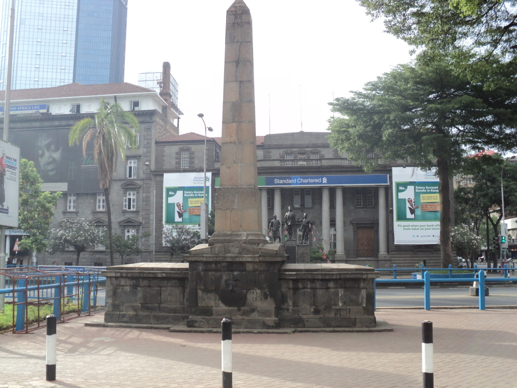 Standard Bank building (1911) lies near 2 World War memorials Nairobi, Kenya