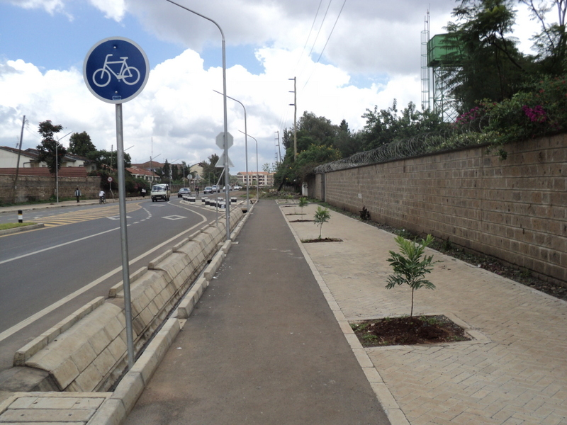 One of the new Bicycle lanes in Nairobi, Kenya