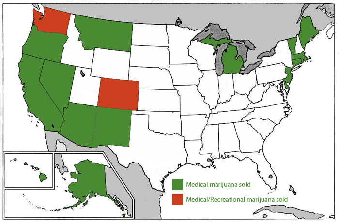 Map showing where medical and recreational marijuana is sold in the United States