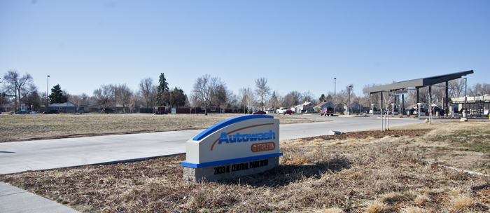 A gas station, car wash, and vacant site along the southern boundary of Stapleton, Denver, Colorado