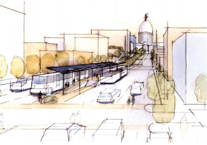A sketch of the proposed bus rapid transit (BRT) system