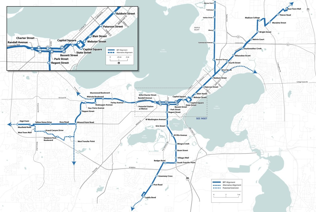 A map of the proposed bus rapid transit (BRT) network
