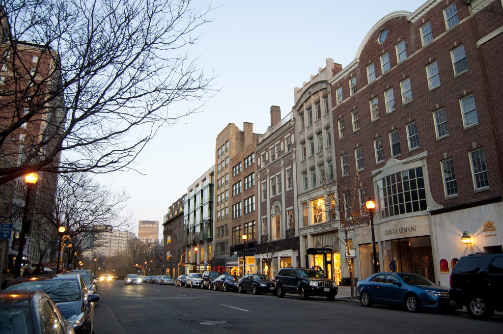 Old brick homes converted to fashionable stores in Newbury Street, Boston