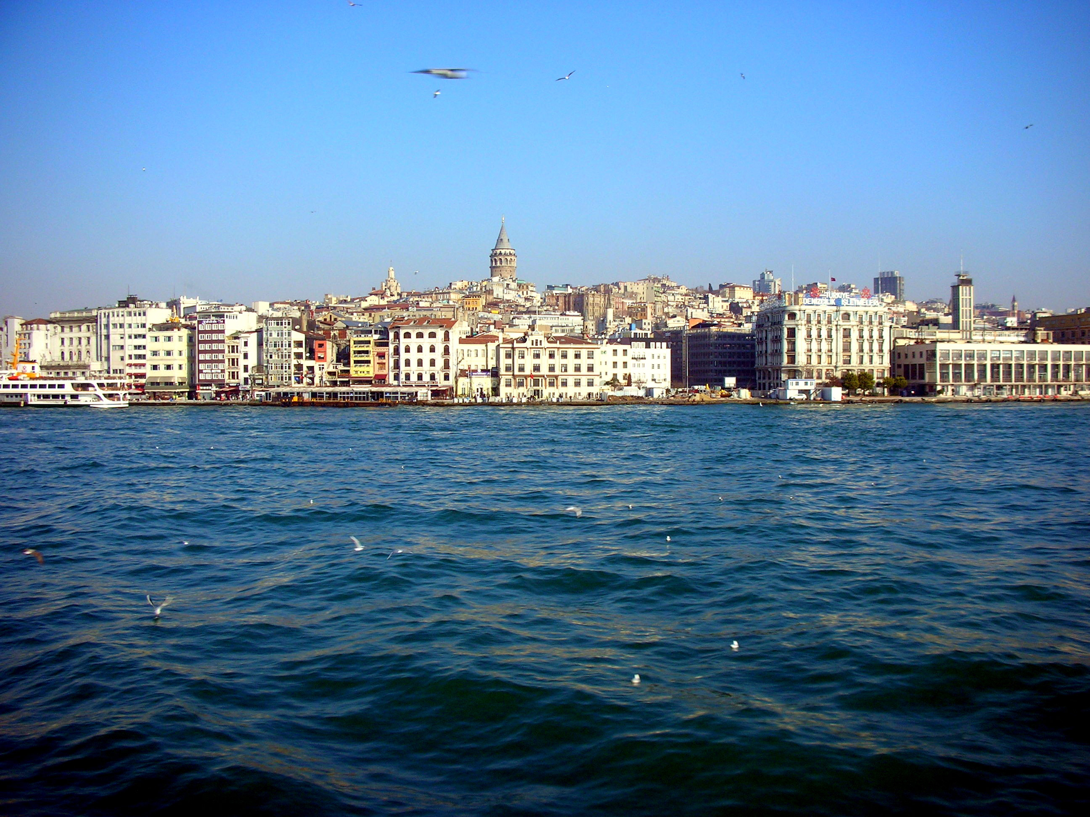 Overview of Karakoy from the ferry, Istanbul, Turkey