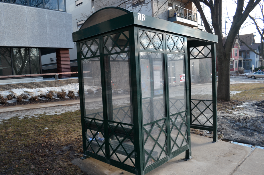A current bus shelter in Madison, WI