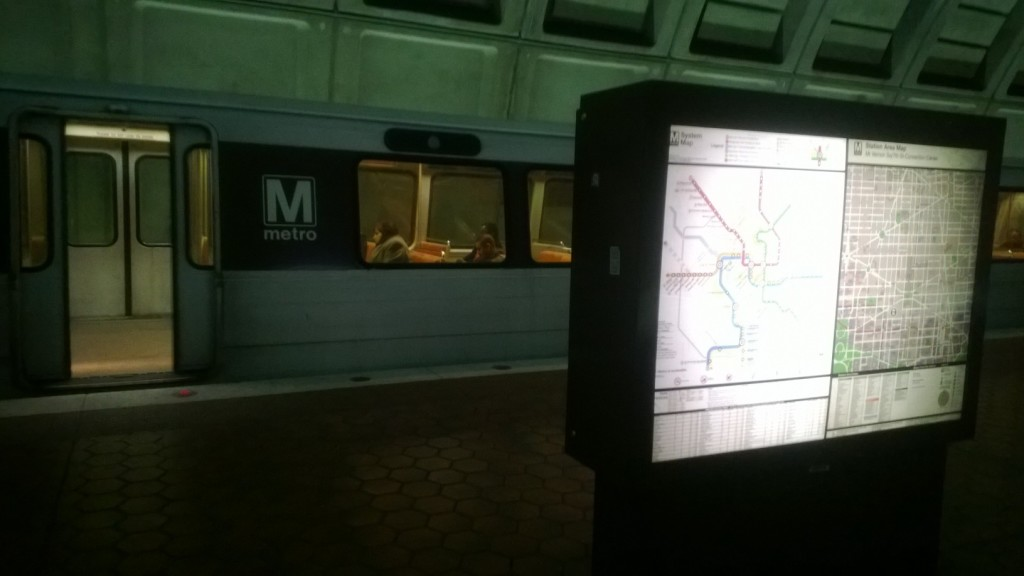 Metrorail train stopping at a station in Washington DC