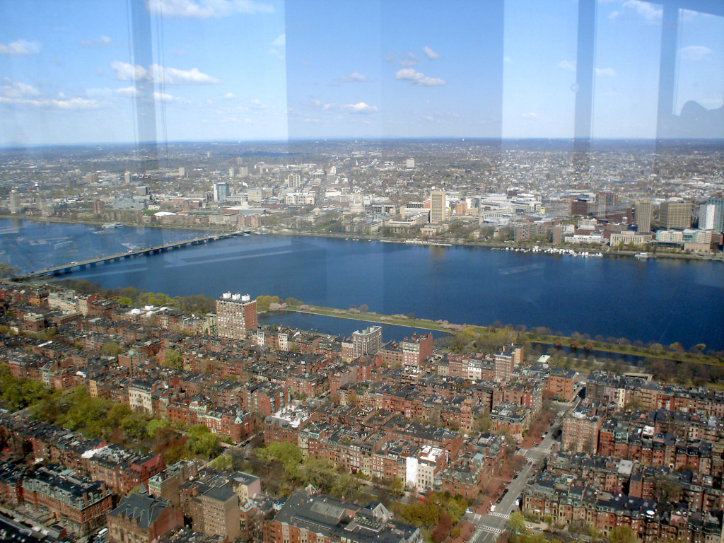 Boston's Back Bay (below), the Charles River, and the MIT/Kendall Square area (above)