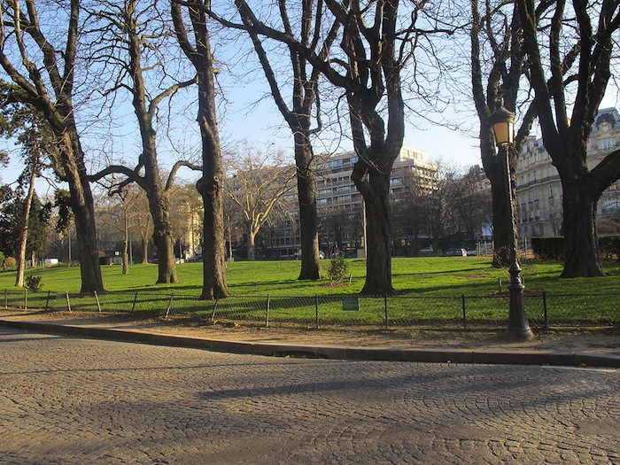 A green space on Foch Avenue in Paris, France