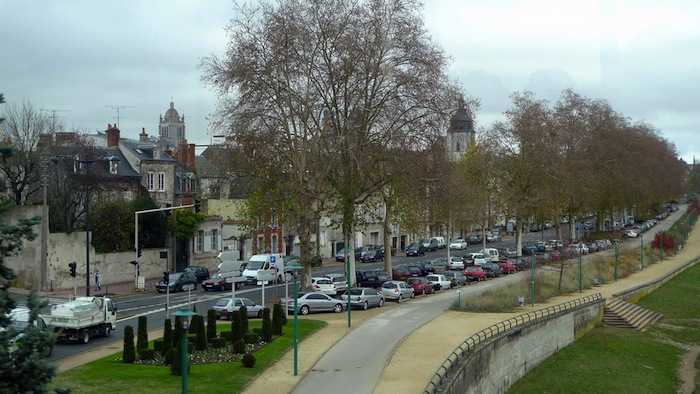 Cars parked on the roadside in Orléans, France