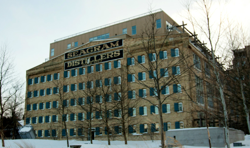 The Seagram lofts on a snowy day, Waterloo, Canada