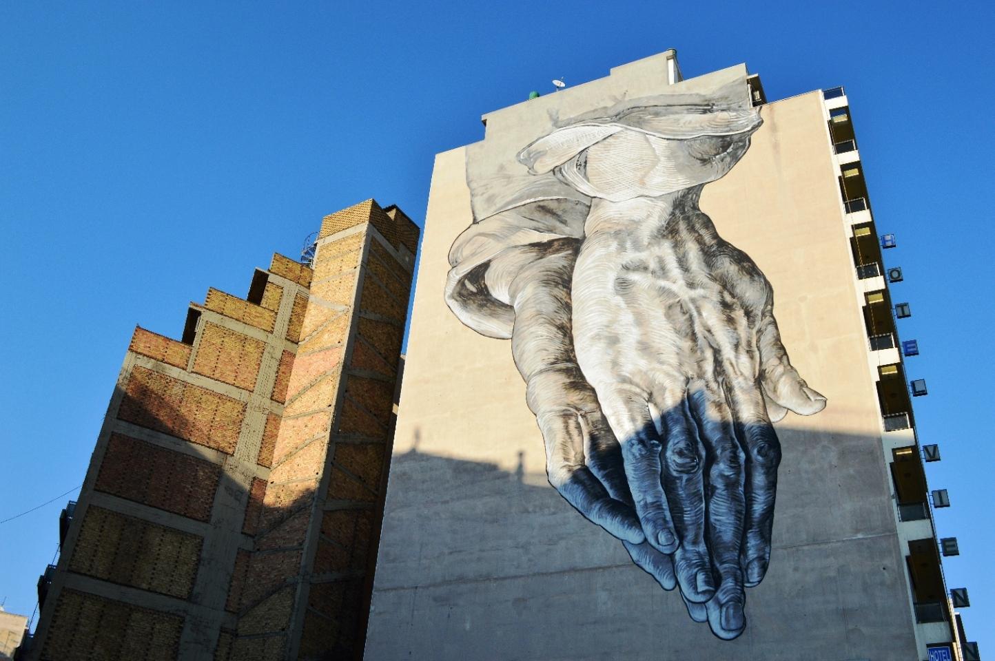 Wall painting at Peireos Avenue, near Metaksourgeio neighborhood, Athens, Greece