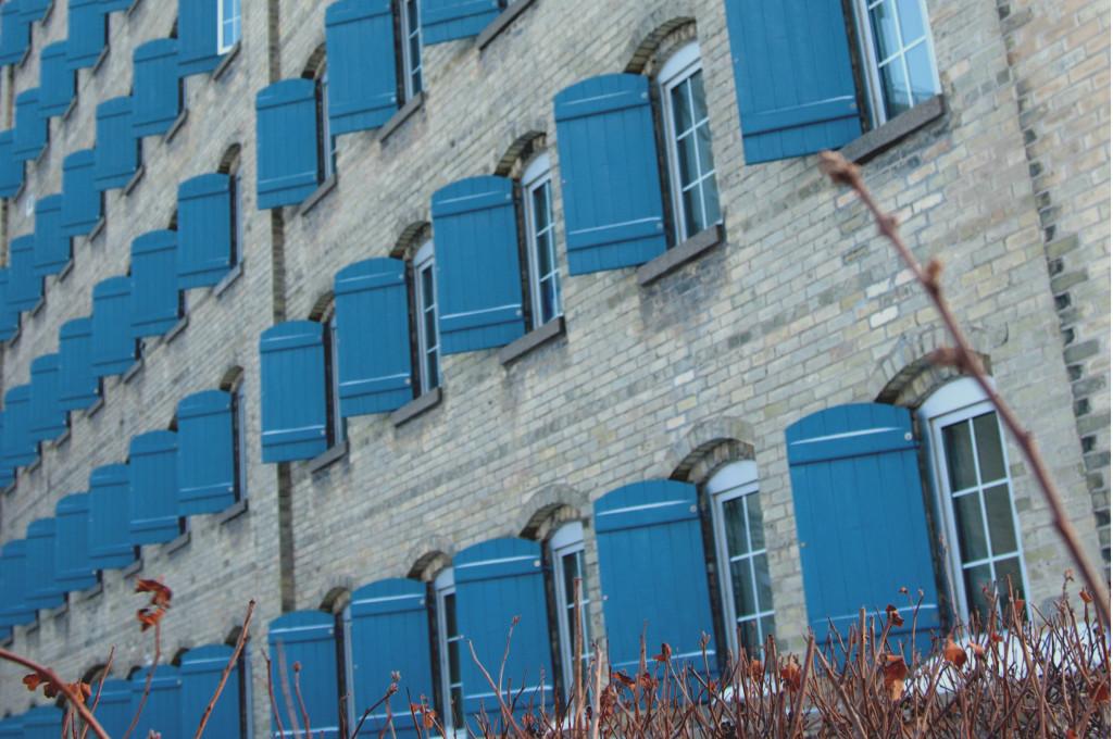 Windows on preserved brick exterior of loft, Waterloo, Canada