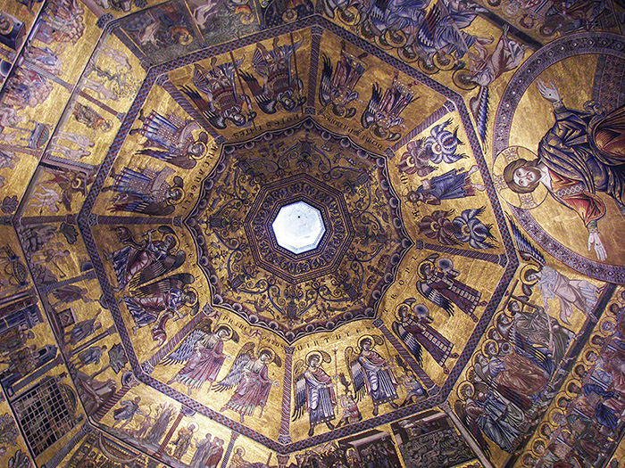 The byzantine mosaic of the Florence baptistery, Florence, Italy