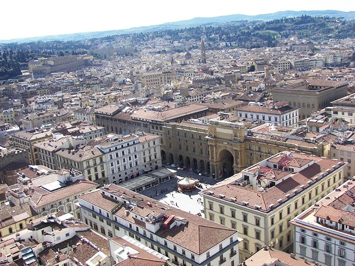 Bird's eye view of Piazza della Republica, center of the Roman city, Florence, Italy