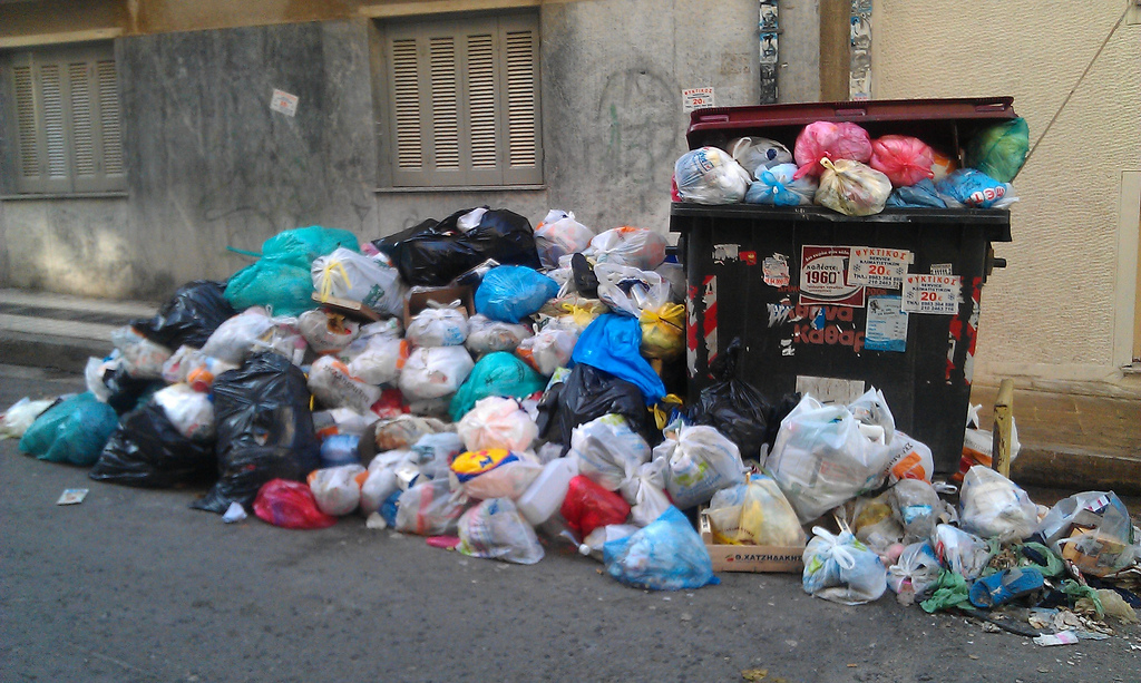 Conventional waste disposal in Athens, Greece