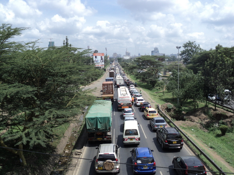 Traffic jams are common along the highway, Nairobi, Kenya