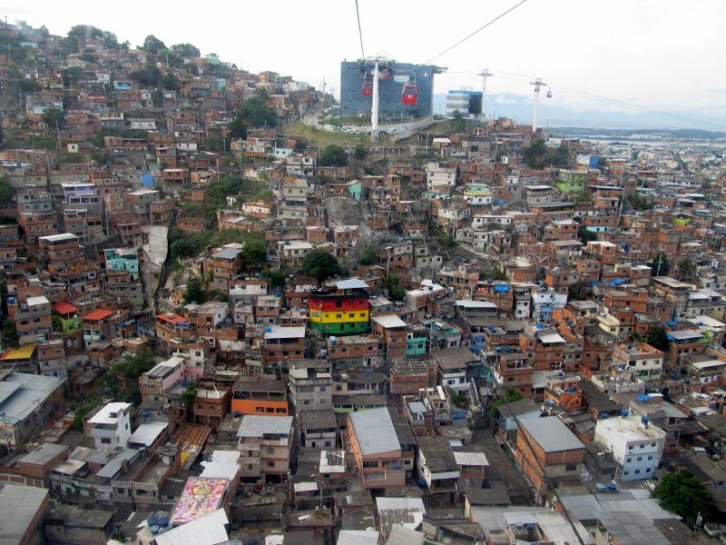 Looking down below on the teleférico of Complexo do Alemão, Rio de Janeiro