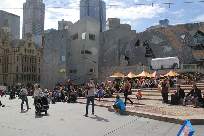 Melbourne Federation Square used by the public, Australia