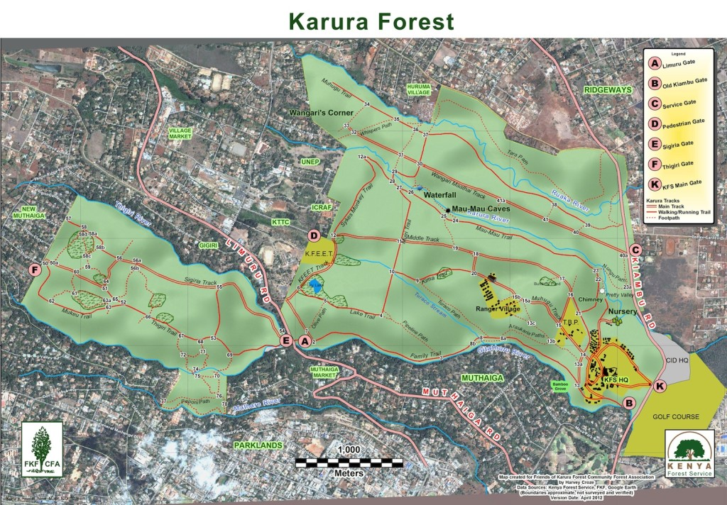 A Map of Karura Forest, Nairobi, Kenya
