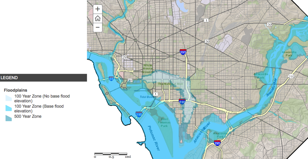 Map of Washington DC floodplain