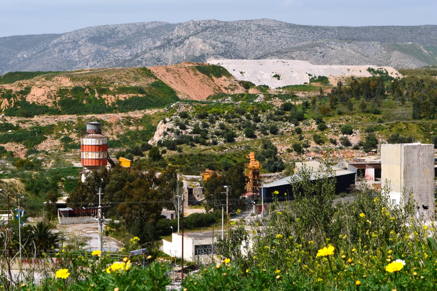 Ano-Liossia half restored dump as viewed from Egaleo Ring road, West Attica, Athens, Greece.