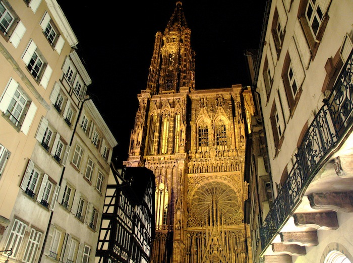The Cathedral of Our Lady of Strasbourg, France at night