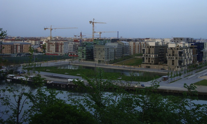 A view of construction in La Confluence, Lyon, France