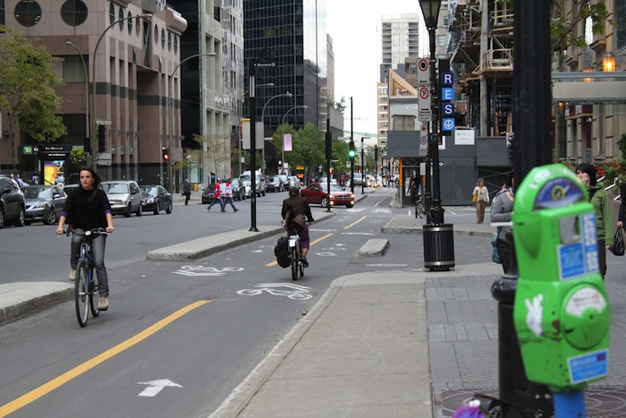 A bike lane and street in Montreal, Canada