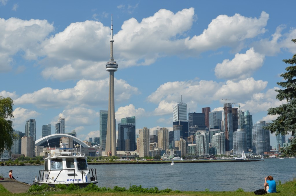 A view of the Toronto, Canada skyline from the Toronto Islands