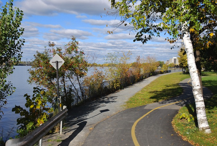 Bike and pedestrian paths in Montreal, Canada