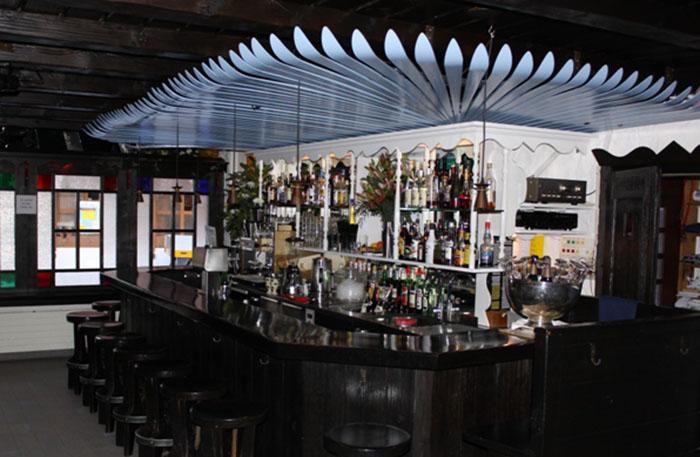 Skis reused in a bar in Wengen, Switzerland.