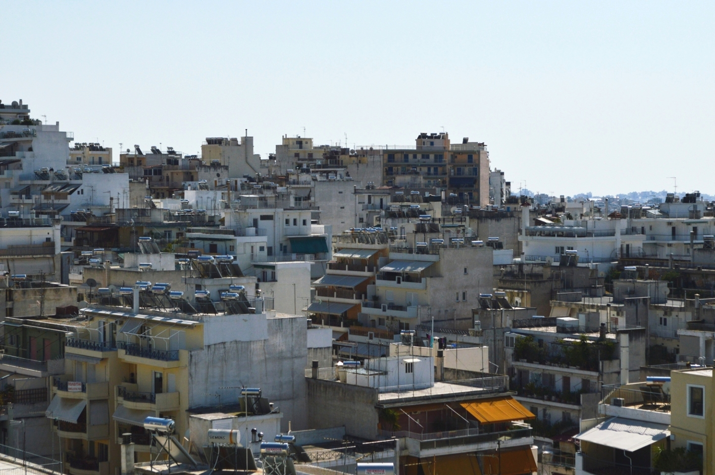 Solar heaters on rooftops in Athens, Greece