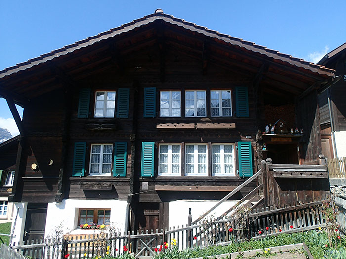 A typical wood chalet in Wengen, Switzerland.
