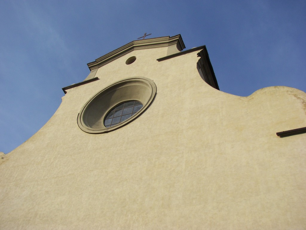 The not elaborated but elegant facade of the church of Santo Spirito, Florence, Italy