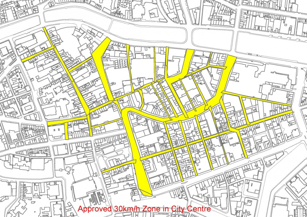 Approved 30kmh Zone in City Center, Cork City, Ireland