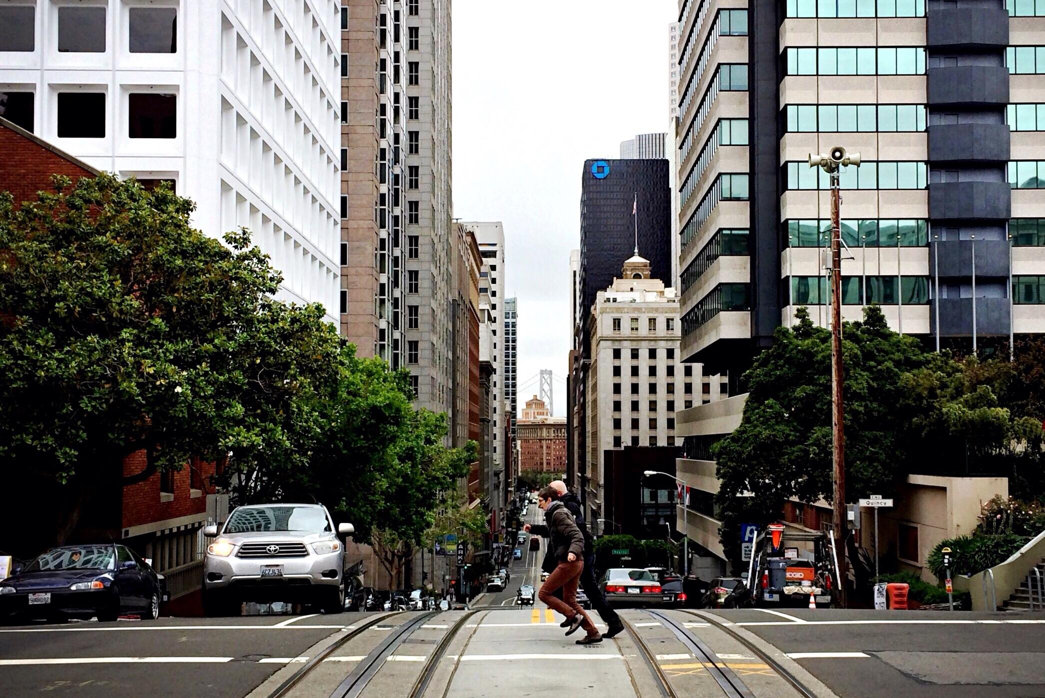Pedestrians in Chinatown, San Francisco, California.