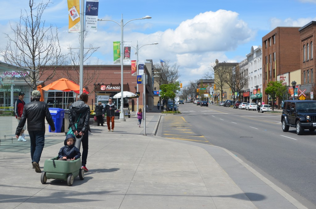 wider sidewalk increases accessibility for all, Waterloo, Canada