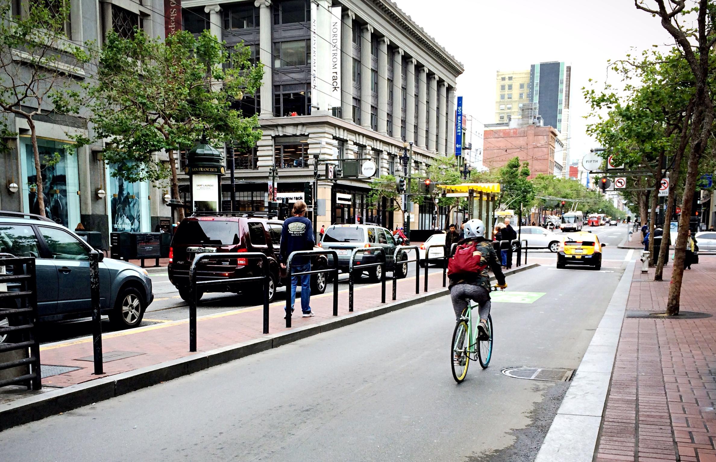 Segregated bicycle lane, San Francisco, California.