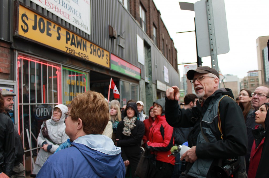 Chris Bradshaw leading Jane's Walk of Uptown Rideau Neighbourhood