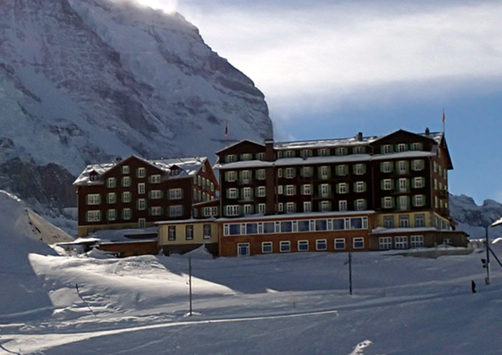 Hotel Bellevue des Alpes maintains a victorian style from the 1920's, Wengen, Switzerland