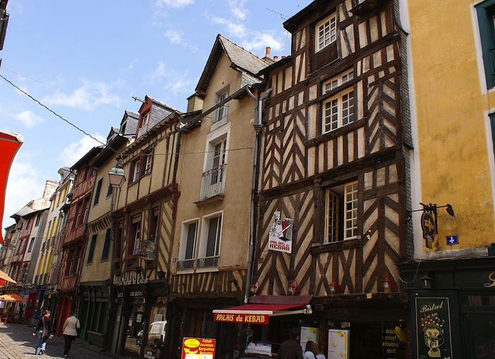 Historic buildings on Rue Saint-Michel in Rennes, France