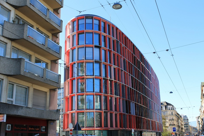 A modern building in the Plainpalais neighborhood in Geneva, Switzerland