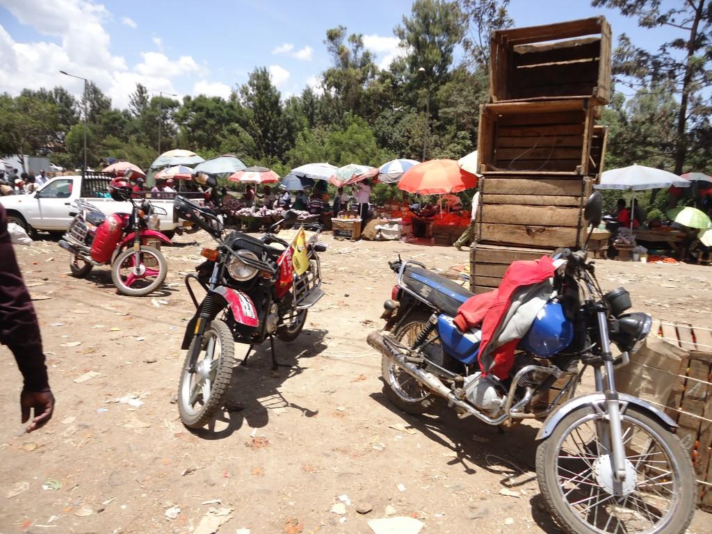 Motorbikes parked at a market place, Nairobi, Kenya