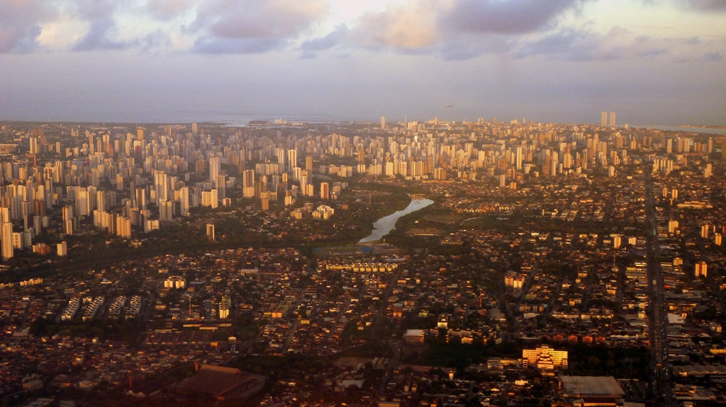 A bird's eye view of Recife, Brazil provides a look at the different types of development that have taken place throughout the city.