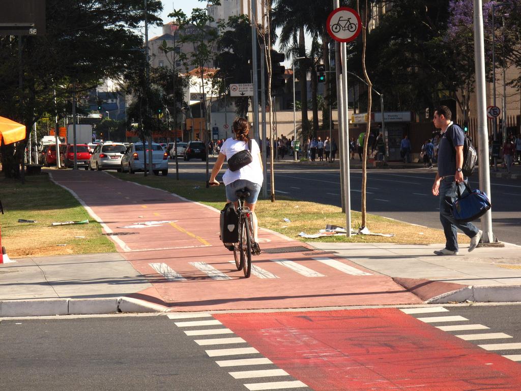 Bike path in São Paulo, Brazil