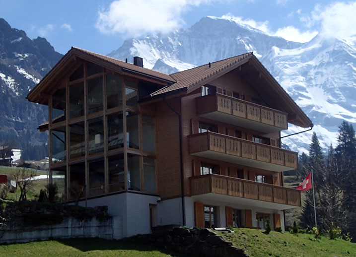 A new chalet built in the traditional style, Wengen, Switzerland