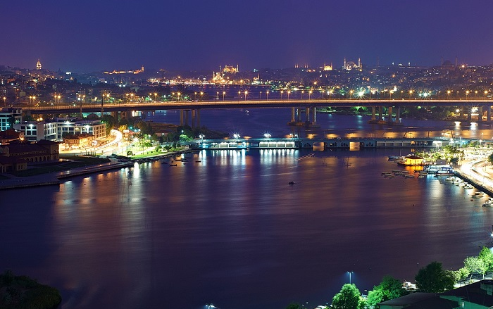 The Golden Horn at Night, Istanbul, Turkey