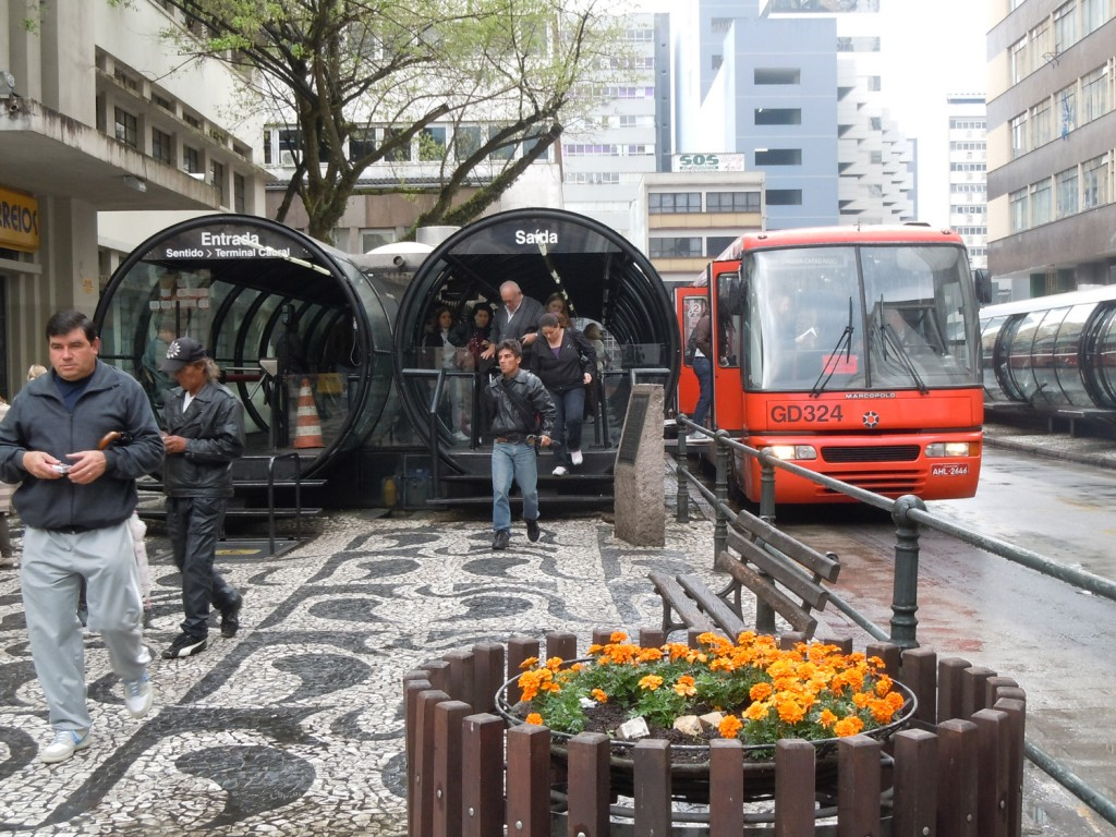 The Bus Rapid Transit system in Curitiba, Brazil