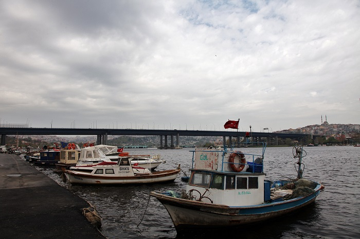The Golden Horn Bridge with Fishing Boats, Istanbul, Turkey